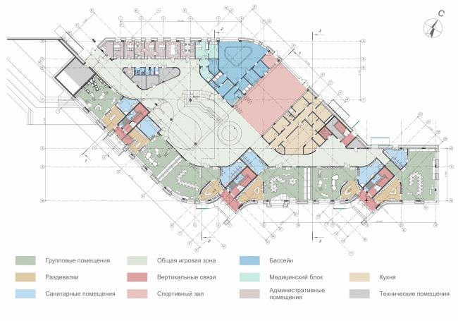 Kindergarten in Beloyarsky. Plan of the 1st floor. Project, 2014 © City-Arch
