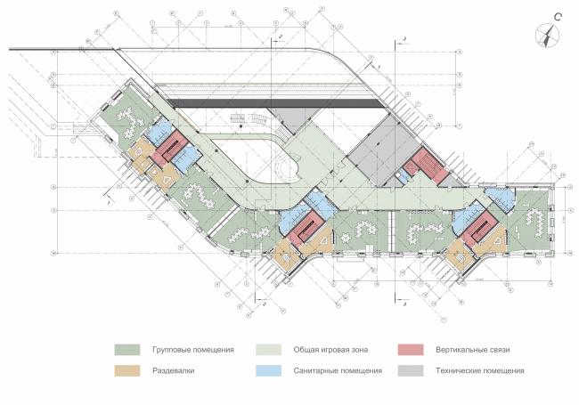 Kindergarten in Beloyarsky. Plan of the 2nd floor. Project, 2014 © City-Arch