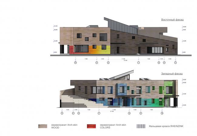 Kindergarten in Beloyarsky. West and east facades. Project, 2014 © City-Arch