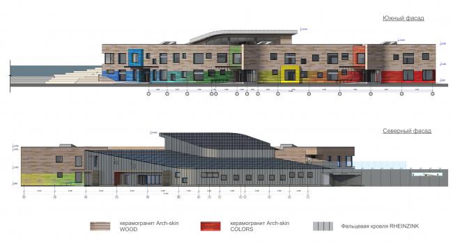 Детский сад в г. Белоярский. Северный и южный фасады. Проект, 2014 © Сити-Арх