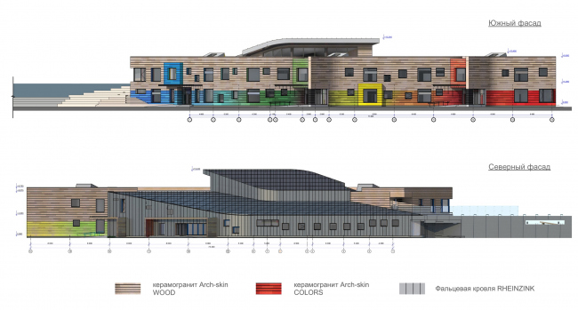 Kindergarten in Beloyarsky. North and south facades. Project, 2014 © City-Arch