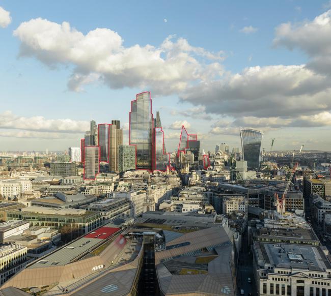 Вид Сити с запроектированными и строящимися башнями (выделены красным силуэтом). Визуализация © Visualhouse and photographer Dan Lowe