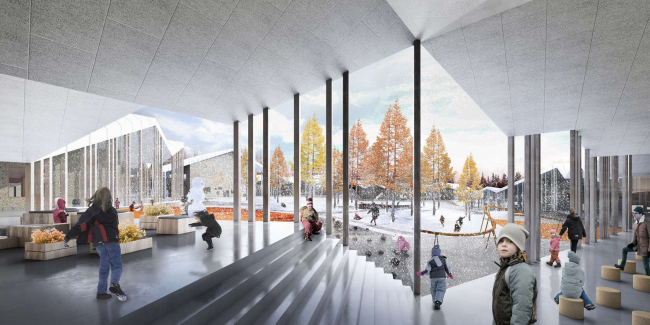 Проект «Умной школы». Крытая часть двора © CEBRA, UNK project