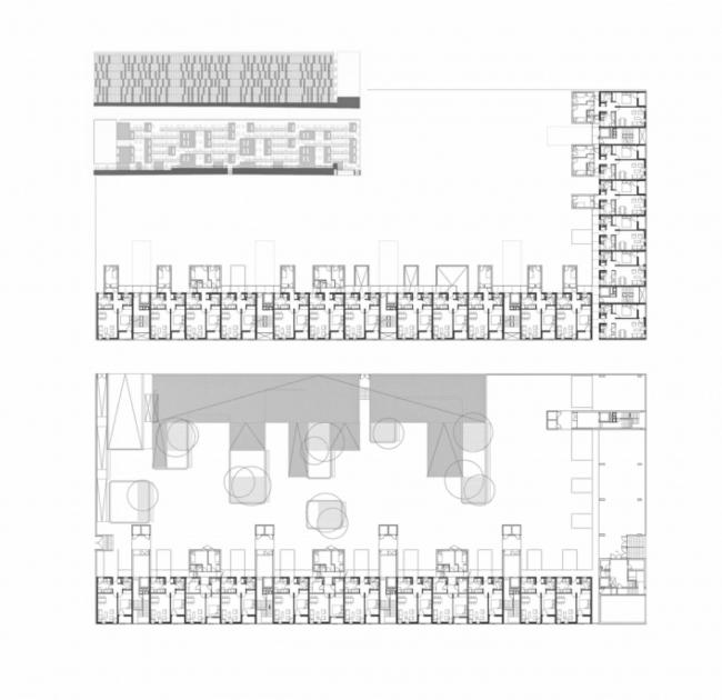 Фасады и планы дома, построенного по программе VPO. Карабанчель. Мадрид. Архитектурное бюро «Досмасуно аркитектос». 2004-2006. Иллюстрация предоставлена издательством «БуксМарт»