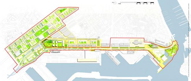 Зона Cité de la Méditerranée и зона Parc Habité d′Arenc. Схема. Арх. Ateliers Lion / Atelier Kern / Ilex. © Yves Lion