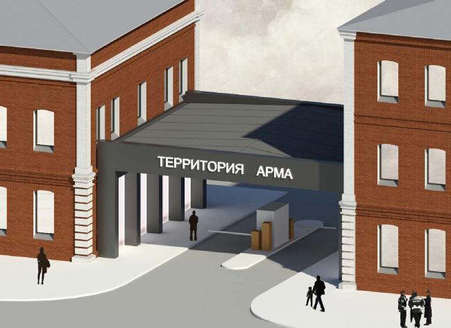 Арма: главный въезд. Вид с высоты птичьего полета. Визуализация, 2015 © Сергей Киселев и Партнеры