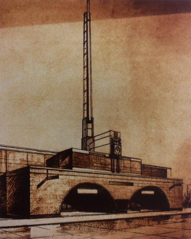 Наземный павильон станции «Смоленская». Архитектор Геннадий Мовчан. Из презентации Максима Шуйского