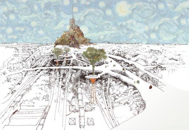 Анна Болдина. Проект поселения над железной дорогой, связывающего три ранее разделенных района Лондона.