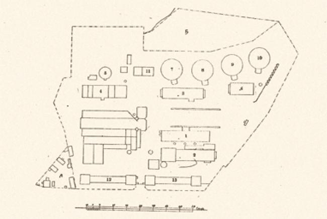 Московский газовый завод: схема расположения корпусов после реконструкции, на 1912 год. Предоставлено компанией «Большой город»