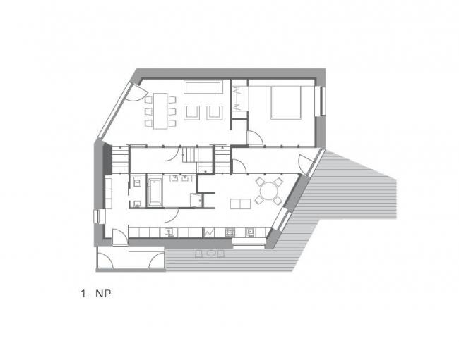 Дом в Словакии, архитекторы Oximoron. План первого этажа © Oximoron