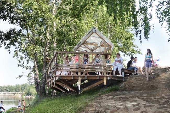 Общественные пространства на берегу озера Татышев. Терраса у воды. Фотография © Лидия Грибакина