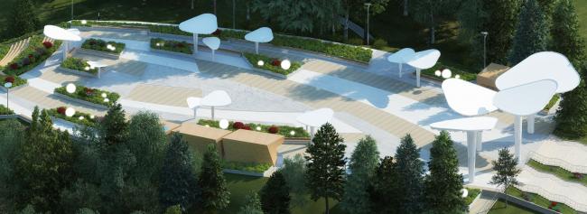 Проект реконструкции детского парка в г. Озерске. Центральная площадь парка. Летний вид © Архитектурное бюро А4