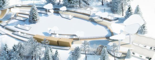Проект реконструкции детского парка в г. Озерске. Центральная площадь парка. Зимний вид © Архитектурное бюро А4