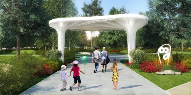 Проект реконструкции детского парка в г. Озерске. Входная группа в парк с проспекта Ленина © Архитектурное бюро А4