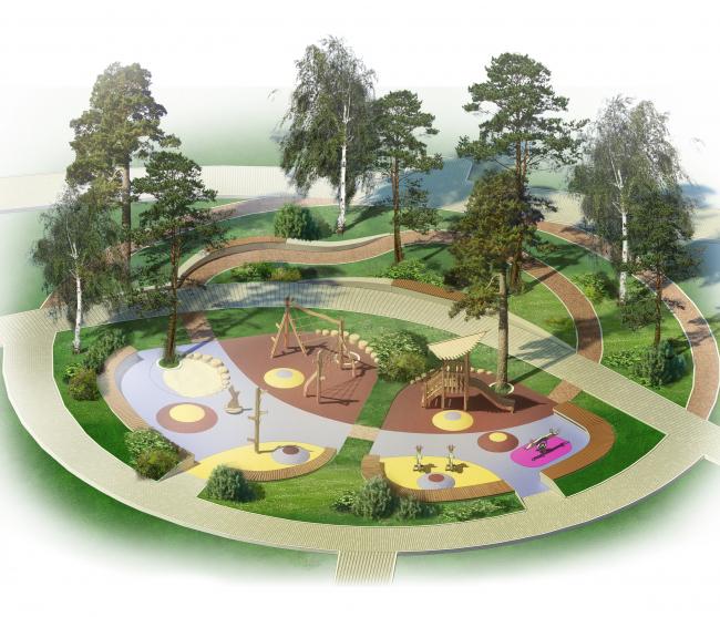 Проект реконструкции детского парка в г. Озерске. Детские площадки для возраста 0-6 лет. Аксонометрия © Архитектурное бюро А4