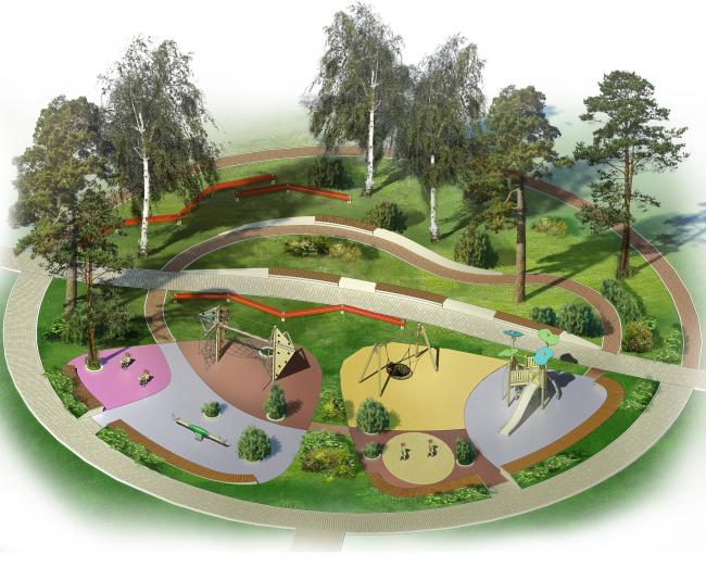 Проект реконструкции детского парка в г. Озерске. Детские площадки для возраста 7-11 лет. Аксонометрия © Архитектурное бюро А4