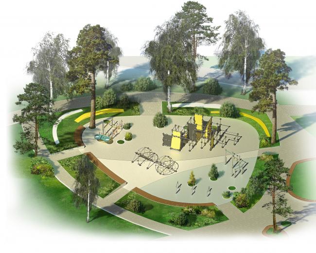 Проект реконструкции детского парка в г. Озерске. Детские площадки для возраста 12-15 лет. Аксонометрия © Архитектурное бюро А4