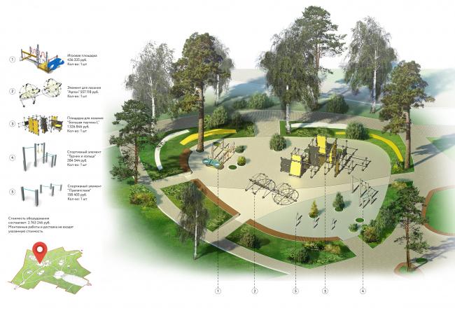 Проект реконструкции детского парка в г. Озерске. Детские площадки для возраста 12-15 лет. Схема-пояснение с условными обозначениями © Архитектурное бюро А4