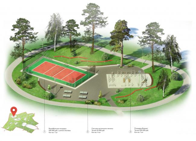 Проект реконструкции детского парка в г. Озерске. Воркаут. Аксонометрия © Архитектурное бюро А4