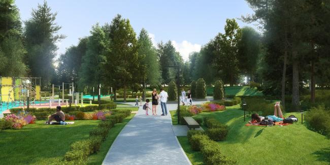 Проект реконструкции детского парка в г. Озерске. Эскиз аллеи парка © Архитектурное бюро А4