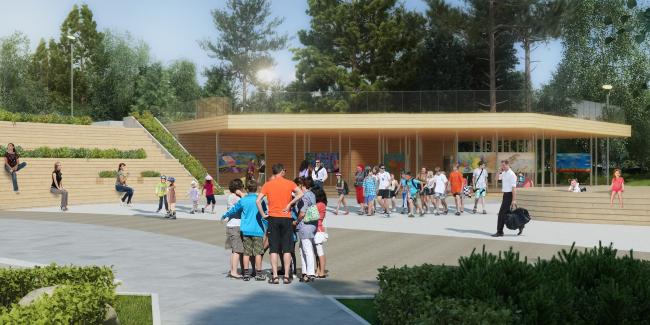 Проект реконструкции детского парка в г. Озерске. Амфитеатр на главной площади © Архитектурное бюро А4