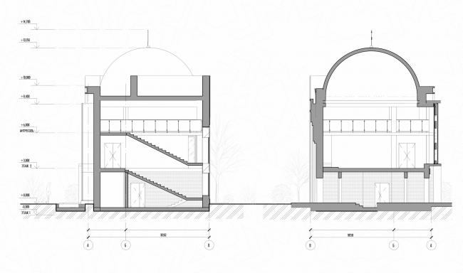 Реконструкция здания под мусульманский религиозный центр «14 Святых». Разрезы © Mamedov + Partners