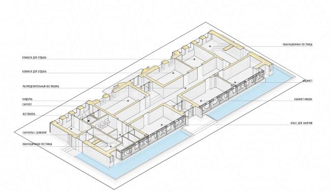 Реконструкция здания под мусульманский религиозный центр «14 Святых». План 1 этажа © Mamedov + Partners