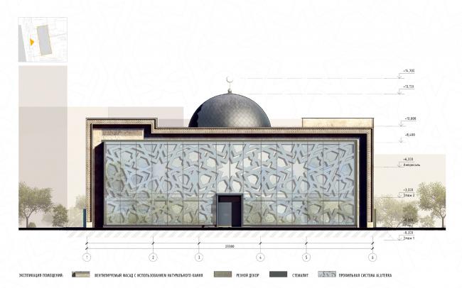 Реконструкция здания под мусульманский религиозный центр «14 Святых». Фасад © Mamedov + Partners