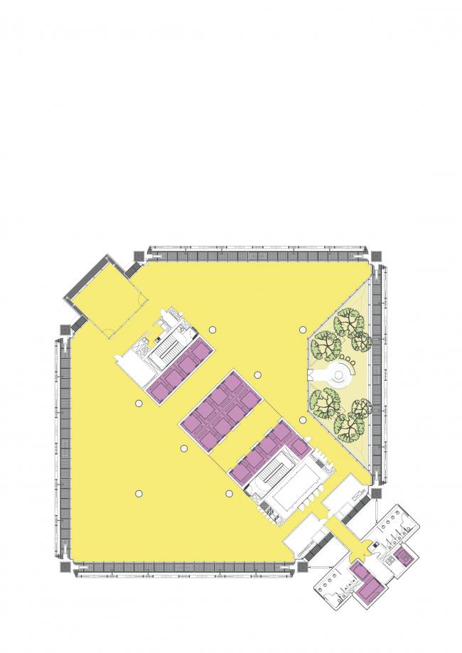 Штаб-квартира BBVA Bancomer. Типовой офисный этаж с садом © LegoRogers