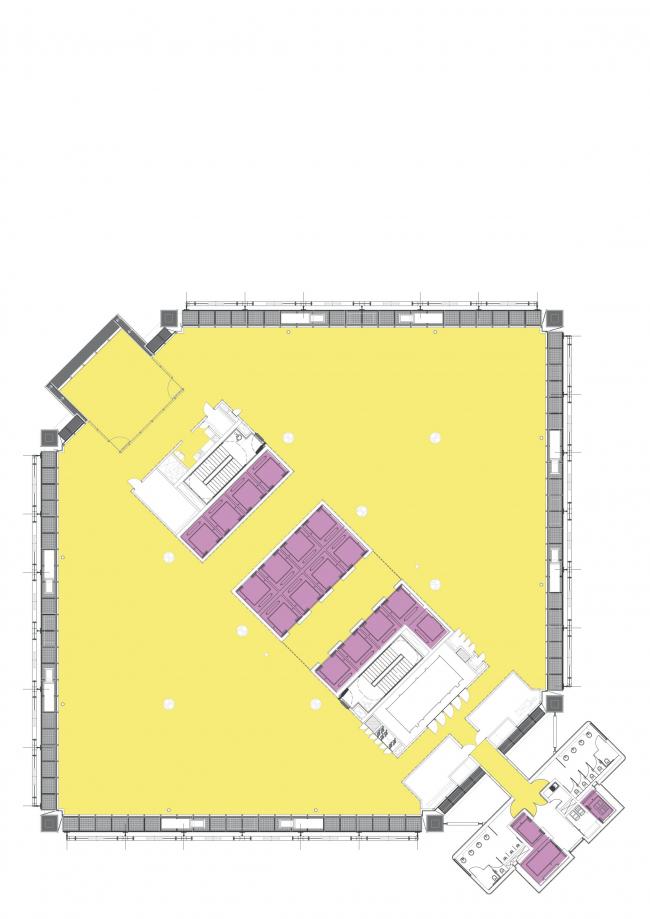 Штаб-квартира BBVA Bancomer. Типовой офисный этаж © LegoRogers