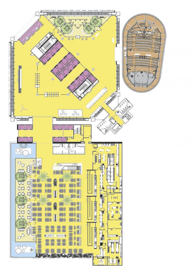 Штаб-квартира BBVA Bancomer. План уровня вестибюля Sky Lobby © LegoRogers