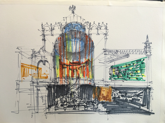 Эскиз Сергея Кузнецова на тему экспозиции российского павильона на архитектурной биеннале в Венеции