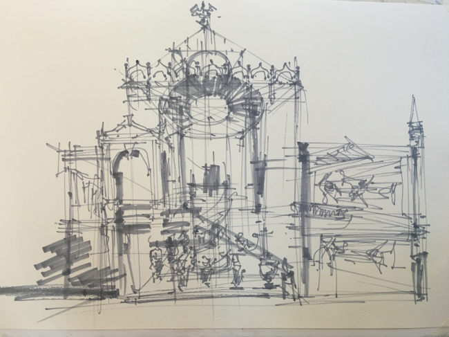 A sketch by Sergey Kuznetsov on the subject of the exposition of the Russian pavilion at Venetian Biennale