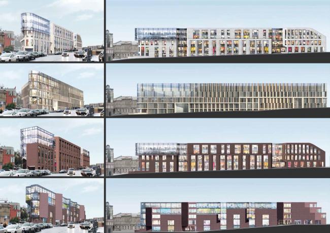 Многофункциональный комплекс на ул. Земляной Вал. Варианты фасадов. Проект, 2014 © Гинзбург Архитектс