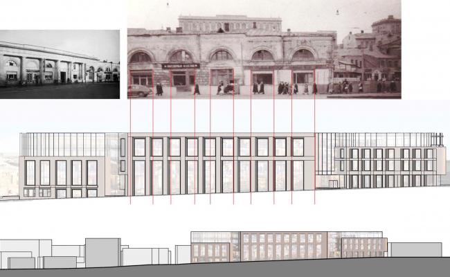 Многофункциональный комплекс на ул. Земляной Вал. Поиск ритма. Проект, 2014 © Гинзбург Архитектс