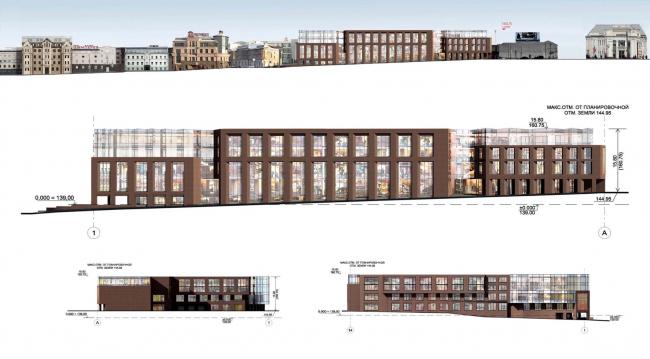 Многофункциональный комплекс на ул. Земляной Вал. Фасады и развертки. Проект, 2014 © Гинзбург Архитектс