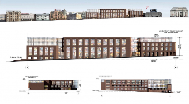 Multifunctional complex on the Zemlyanoy Val Street. facades and development drawings. Project, 2014 © Ginsburg Architects
