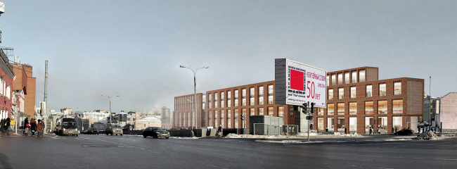 Multifunctional complex on the Zemlyanoy Val Street. View from the Taganskaya Square. Project, 2014 © Ginsburg Architects
