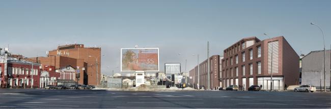 Многофункциональный комплекс на ул. Земляной Вал. Вид с Таганской площади. Проект, 2014 © Гинзбург Архитектс