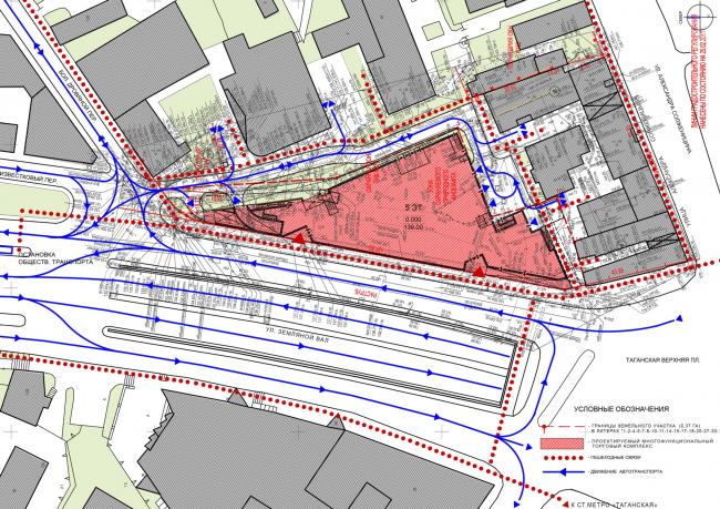 Многофункциональный комплекс на ул. Земляной Вал. Генеральный план. Проект, 2014 © Гинзбург Архитектс