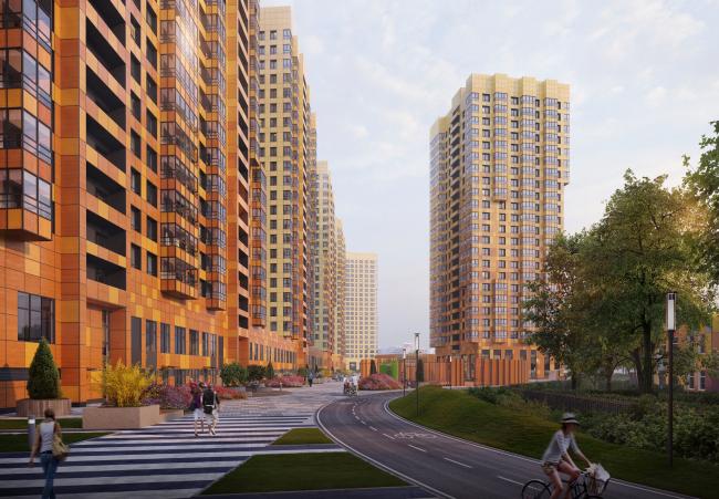 Multiapartment buildings on the Komendantsky Prospect. Yard. Project, 2015 © Evgeny Gerasimov and Partners