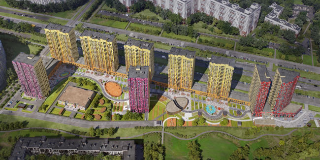 Multiapartment buildings on the Komendantsky Prospect. Birds-eye view. Project, 2015 © Evgeny Gerasimov and Partners