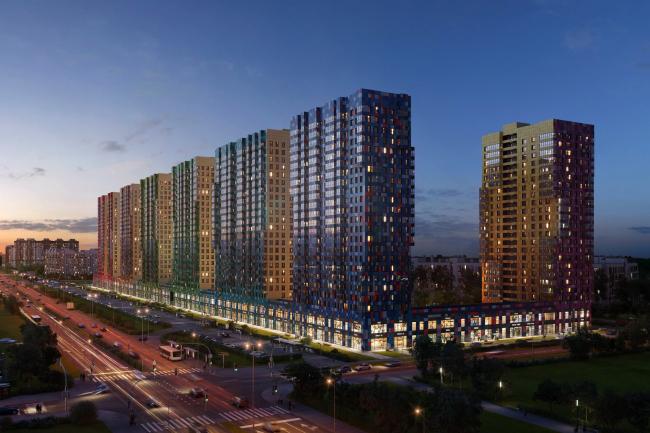 Multiapartment buildings on the Komendantsky Prospect. Night view from the Glukharskaya Street. Project, 2015 © Evgeny Gerasimov and Partners