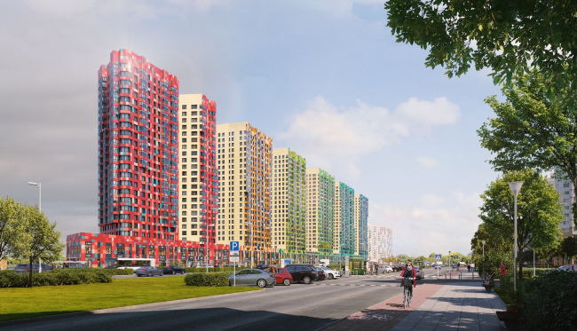 Multiapartment buildings on the Komendantsky Prospect. View from the crossing of the Komendantsky and the Kovaleva prospects. Project, 2015 © Evgeny Gerasimov and Partners