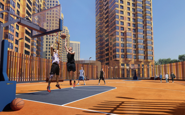 Multiapartment buildings on the Komendantsky Prospect. Open-air gym. Project, 2015 © Evgeny Gerasimov and Partners