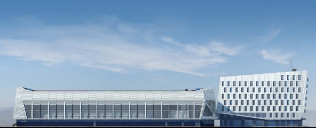 """Avangard"" Hockey Academy. Side facade © Sergey Tsytsin Architectural Studio"