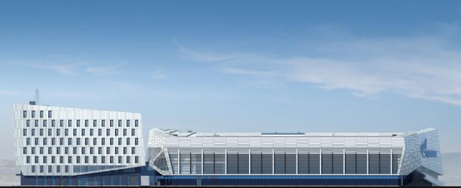 Хоккейная Академия «Авангард». Боковой фасад © Архитектурная мастерская Цыцина