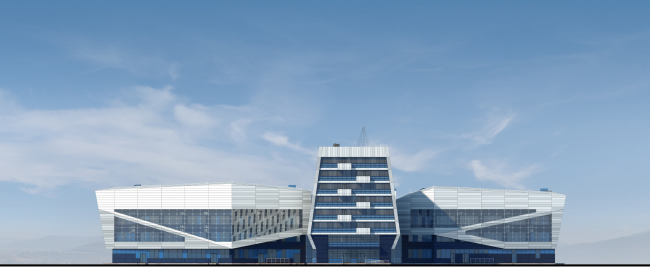 """Avangard"" Hockey Academy. The main facade © Sergey Tsytsin Architectural Studio"