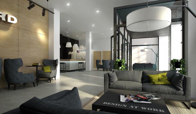 """""""Avangard"""" Hockey Academy. Hotel lobby © Sergey Tsytsin Architectural Studio"""