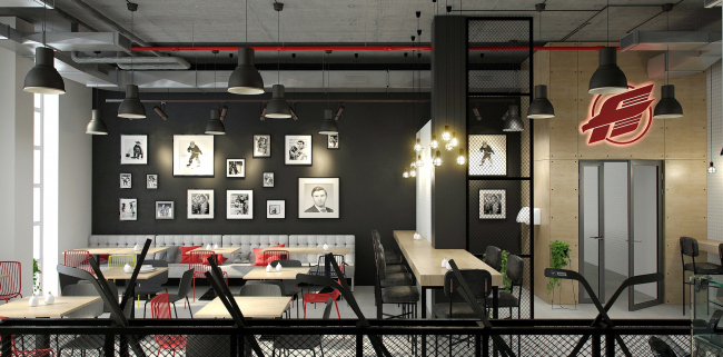 """Avangard"" Hockey Academy. The hotel cafe © Sergey Tsytsin Architectural Studio"